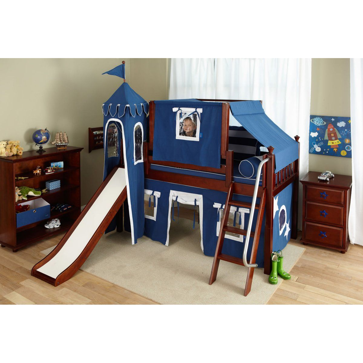 Wow Boy I Deluxe Panel Low Loft Tent Bed with Slide
