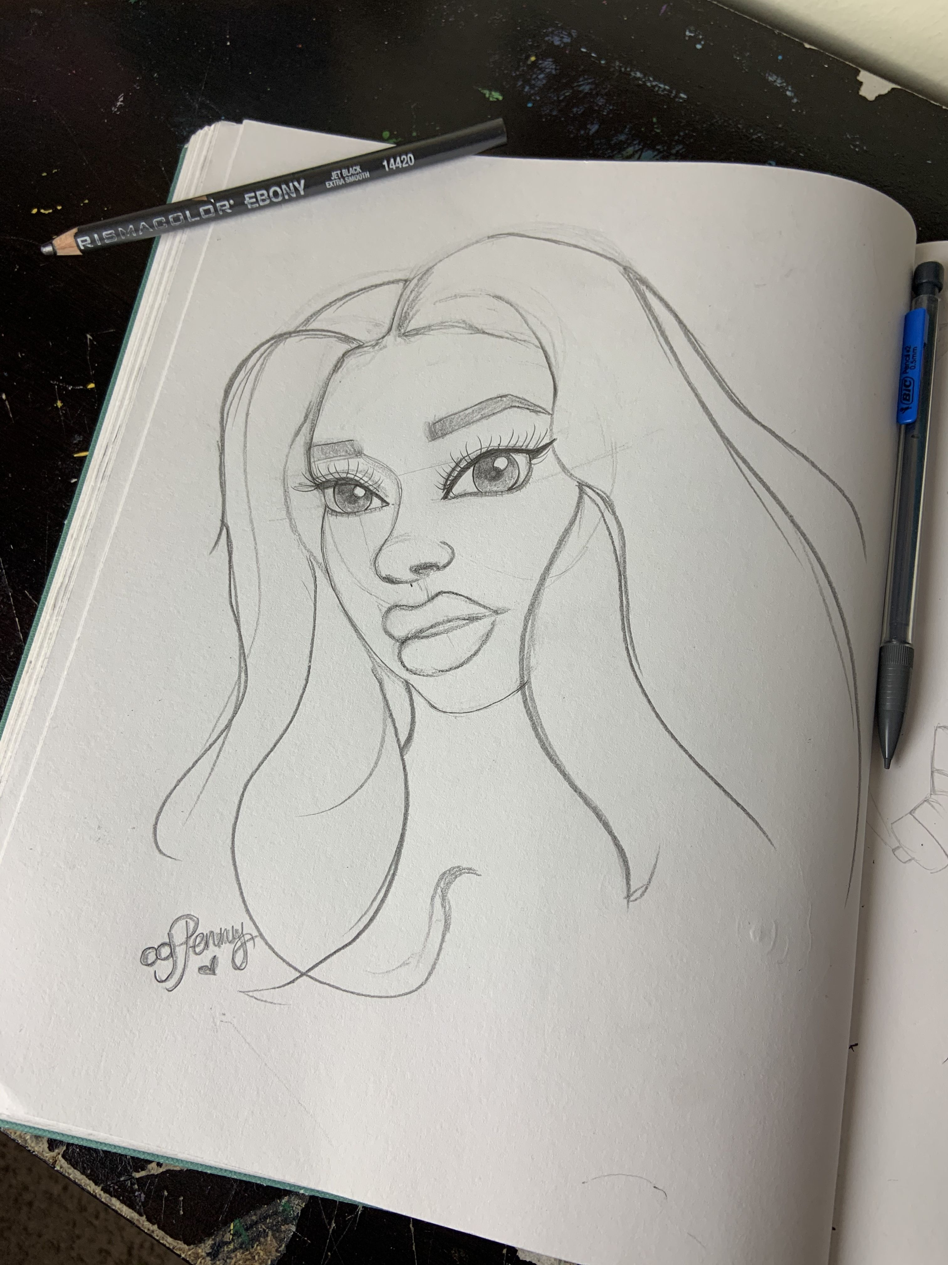 Meg Thee Stallion Drawing How To Draw A Face In 2020 Drawings Cartoon Styles Sketch Book