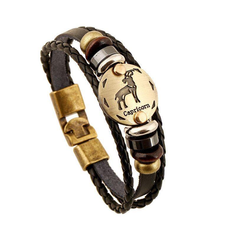 12 Zodiac Sings Bracelets Fashion Jewelry Leather Bracelets Men Casual  Personality Alloy Vintage Punk Bracelet 1176
