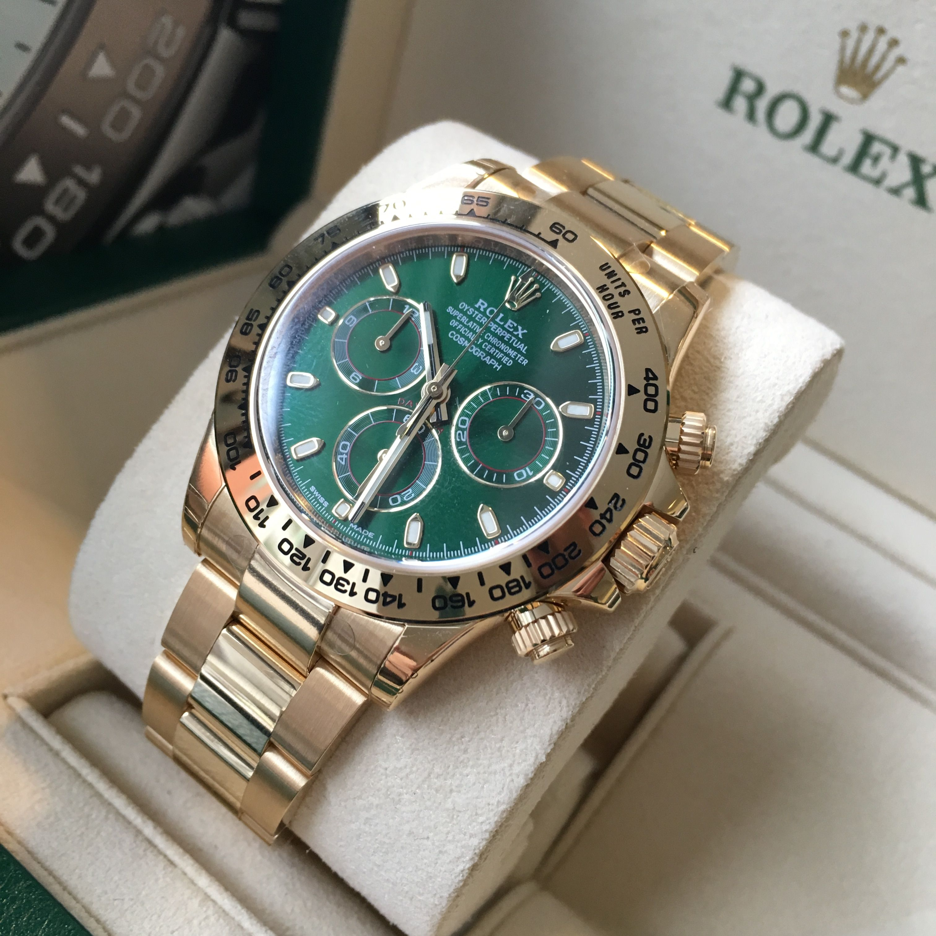 df10d240d93 Special Price for this beauty...so hurry! Rolex Daytona Yellow Gold Green  Dial 116508 Take it home today!