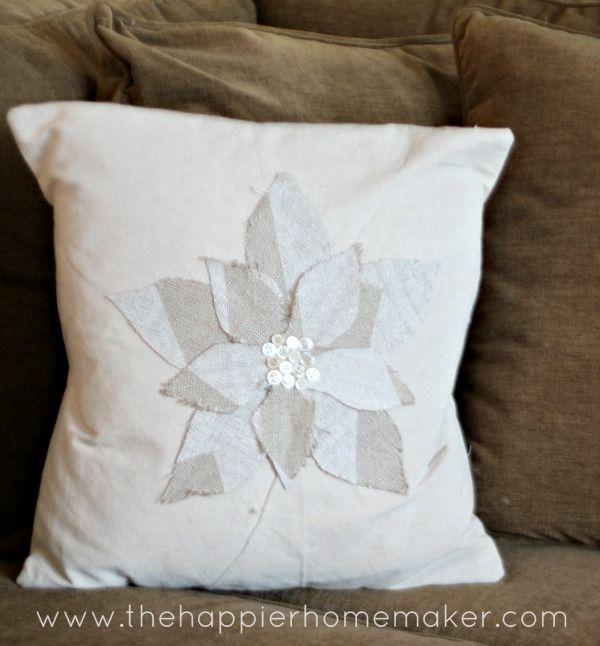 DIY Fabric Scrap And Button Drop Cloth Pillows Homemade