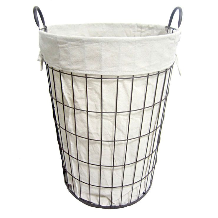 Lined Copper Wire Hamper Black Laundry Basket At Home Store