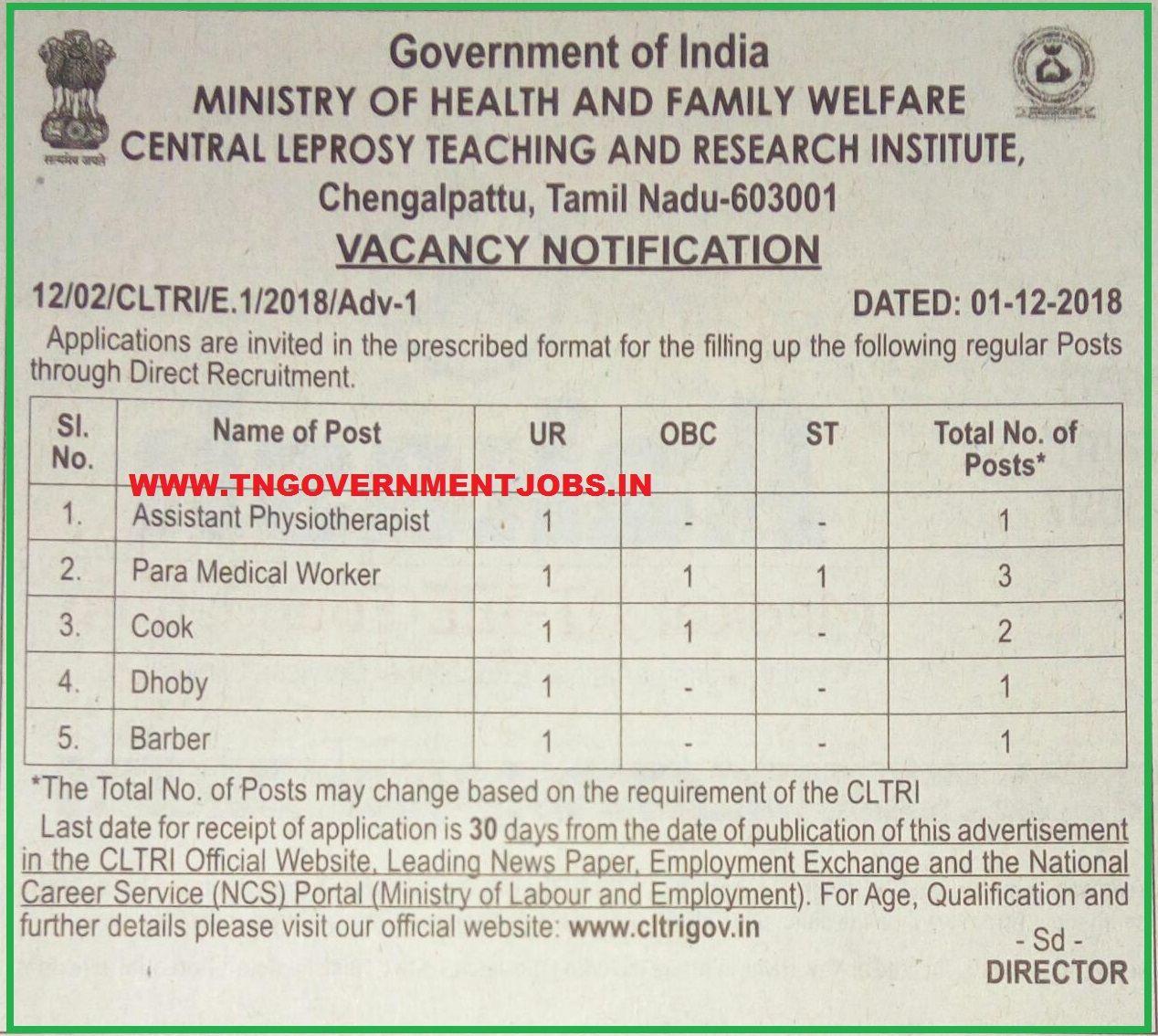 CLTRI Chengalpattu TN Recruitment of Assistant