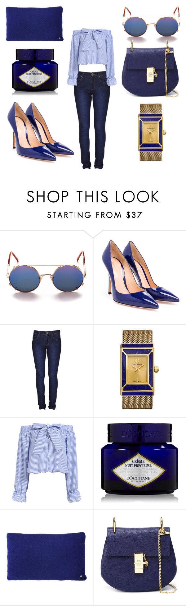 Good news by silverbirds on Polyvore featuring moda, Dr. Denim, Gianvito Rossi, Chloé, Tory Burch, L'Occitane and ferm LIVING