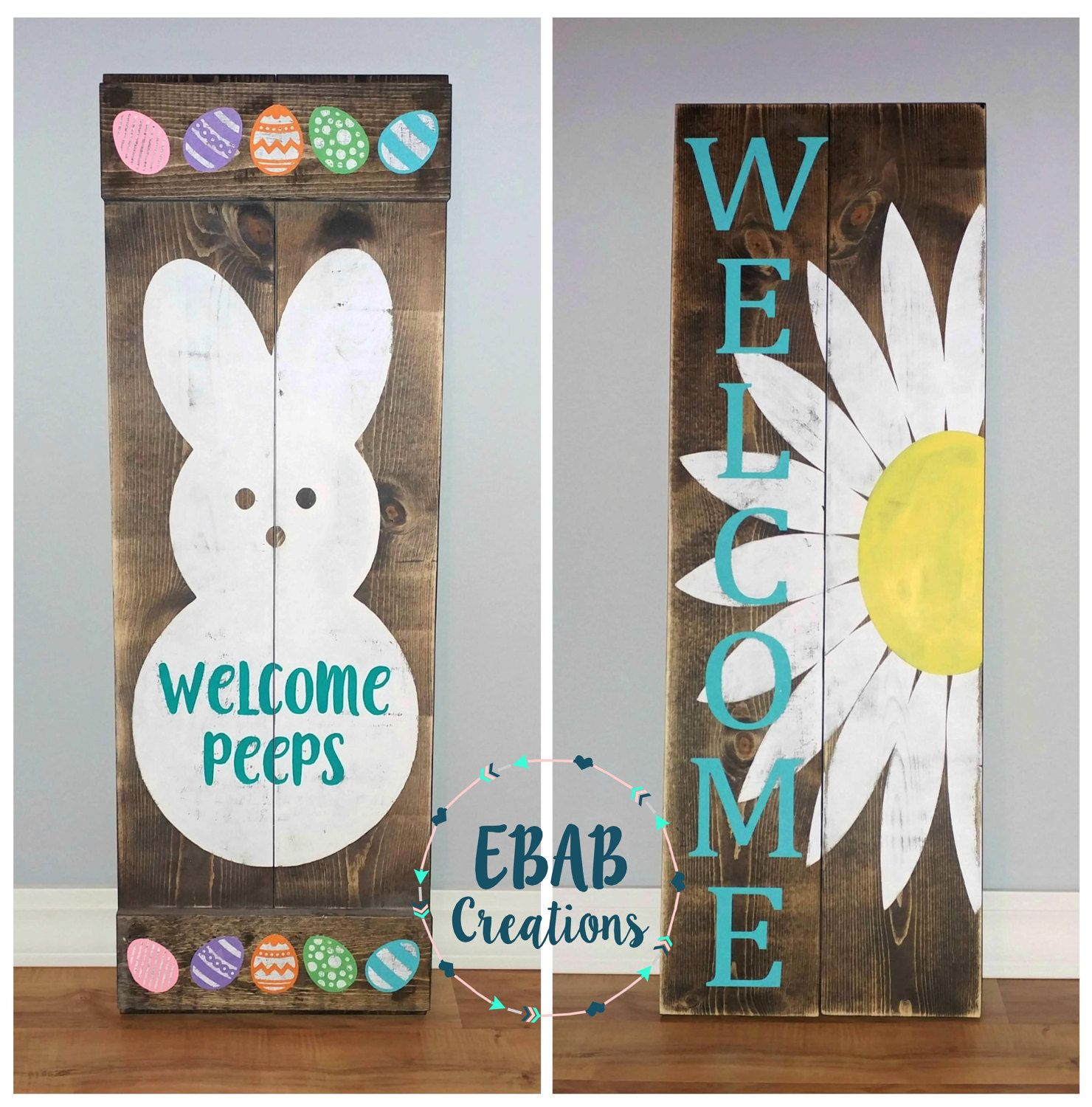 Reversible Sign Welcome Sign Easter Sign By Ebabcreations Easter Signs Crafts Spring Crafts