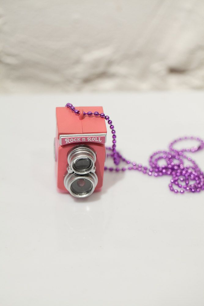 Huge Pink Rock'n roll Camera Pendant for your photographing friend
