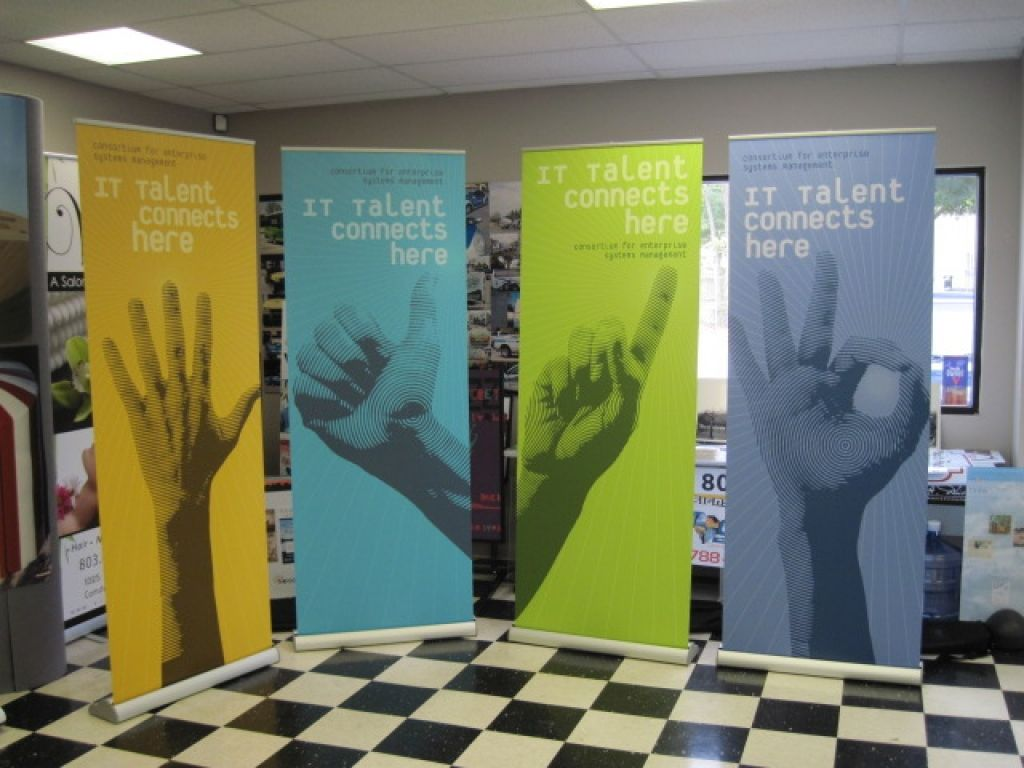 Exhibition Booth Banners : Color backgrounds with stylized grayscale photographic