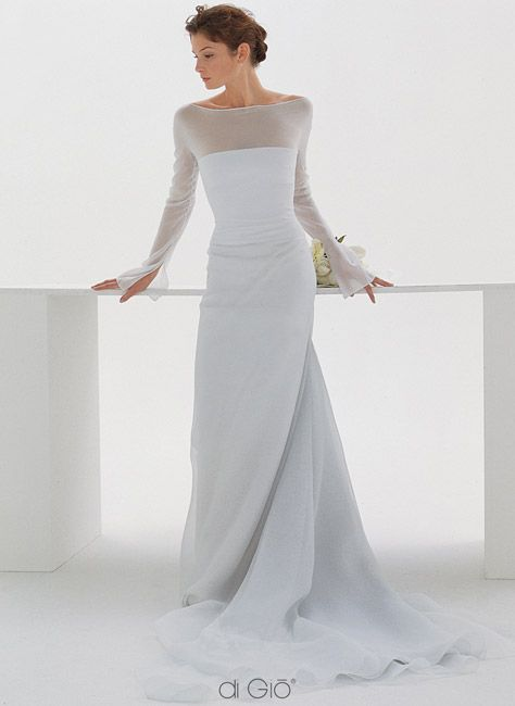 WEDDING DRESS Strapless gown with a sheer overlay. wedding dress Boat Neck  ... 82e8923dcad8
