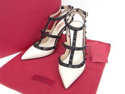 NEW Auth VALENTINO GARAVANI Rockstud Strap Heels Pumps Size 37 13130086400  xF