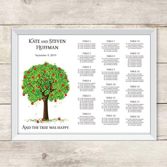 Apple Tree Wedding Seating Chart Printable Greenery Wedding Seating Poster Oak Tree Wedding Seating Sign Wedding Seating Signs Tree Wedding Oak Tree Wedding