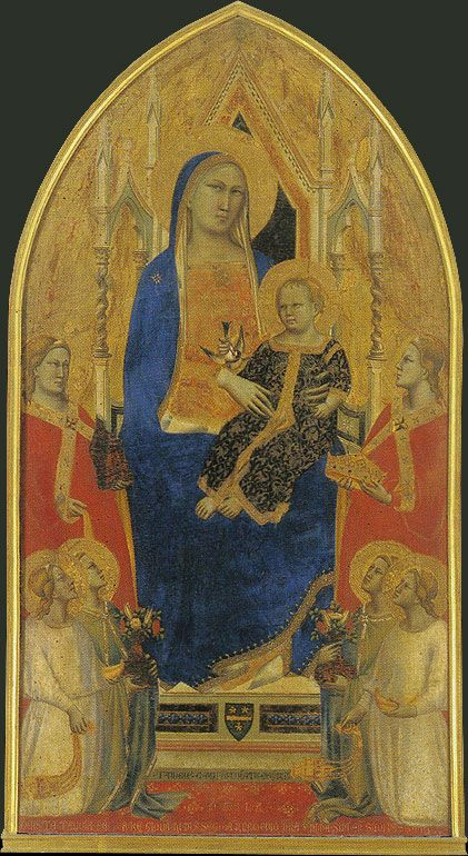 Uffizi Gallery. TADDEO GADDI. Madonna Enthroned with Angels and Saints. c. 1355