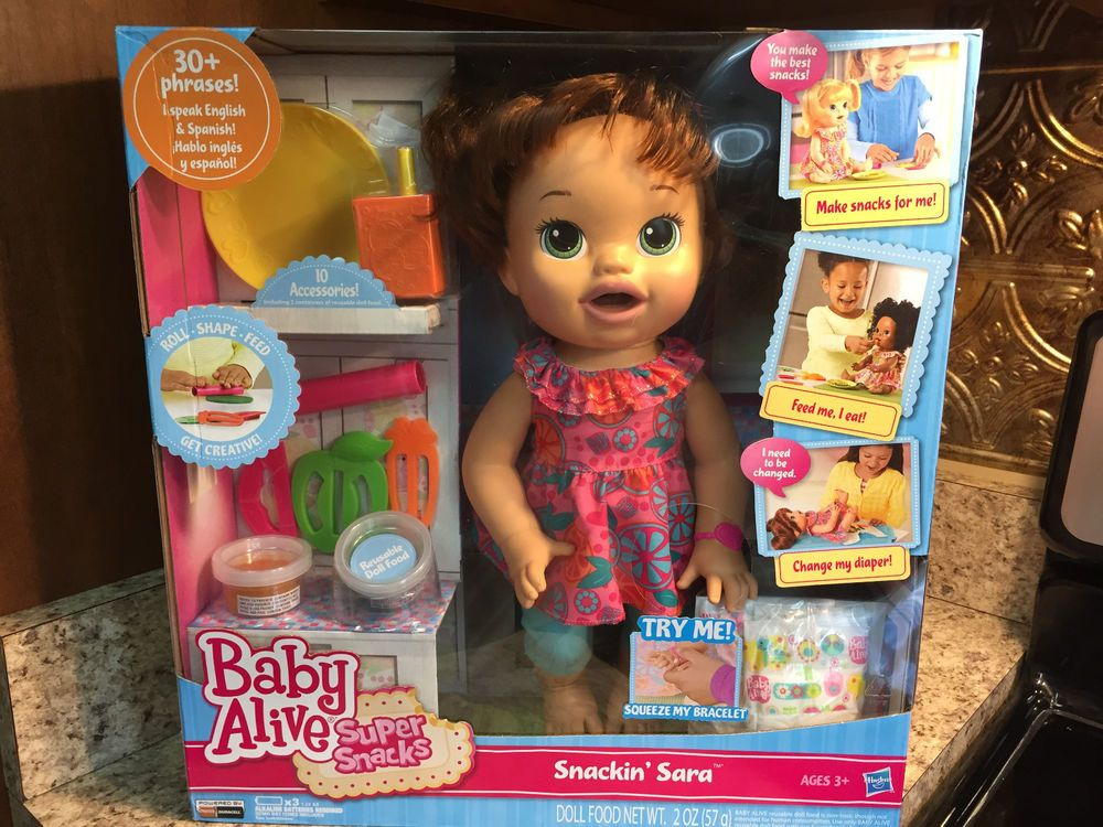 Baby Alive Super Snack Snackin Sarah Brown Hair Brunette Hasbro Baby Alive New Baby Products Super Snacks