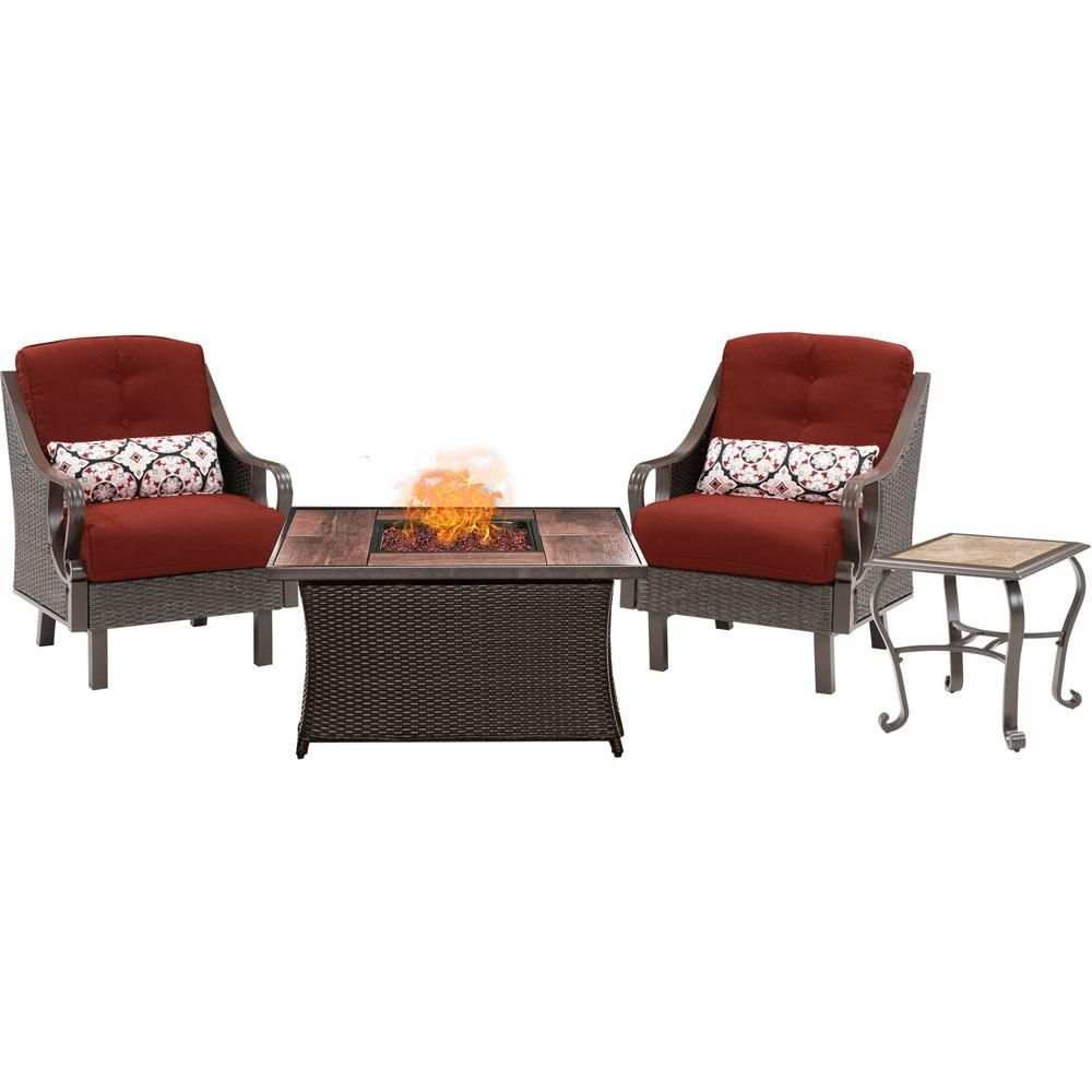 Hanover Ventura 3 Piece All Weather Wicker Patio Conversation Set With Wood Grain Top Fire Pit With Crimson Red