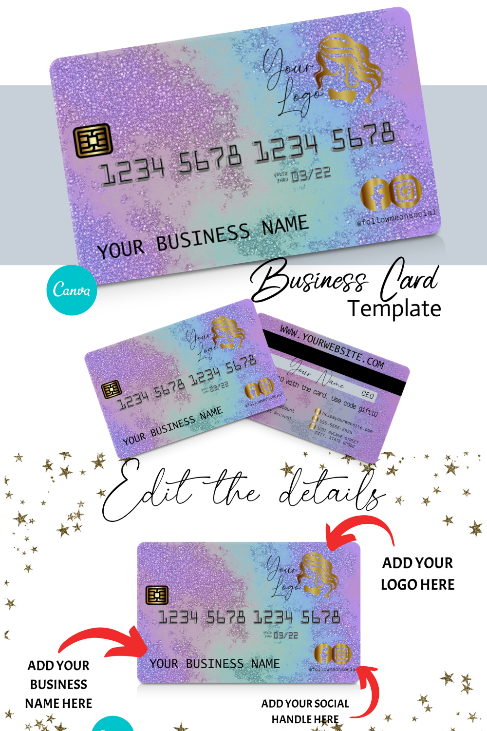Diy Pastel Pink Marble Credit Card Business Cards Canva Template Business Card Design Appointment Card Loyalty Card Instant Access Beauty Business Cards Cute Business Cards Business Card Inspiration