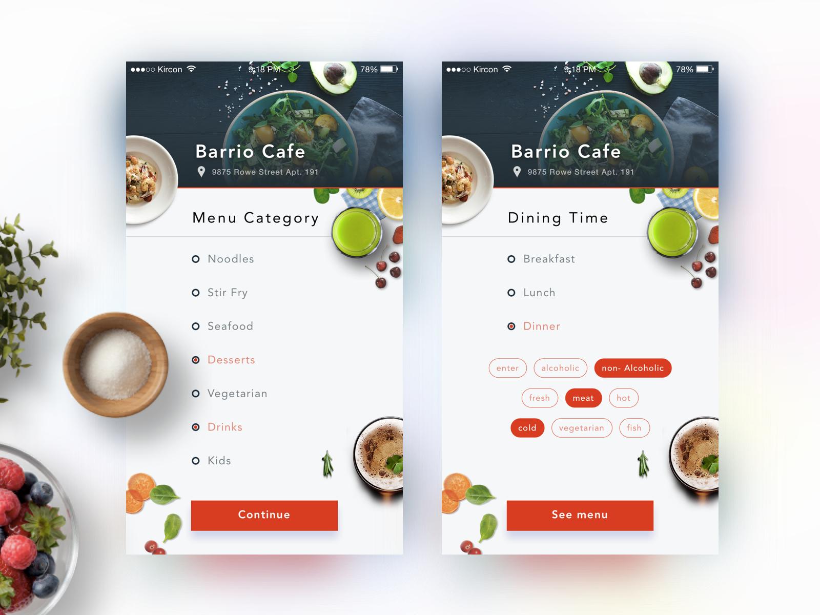 Dribble dinning category2 food app pinterest app for Design cuisine login