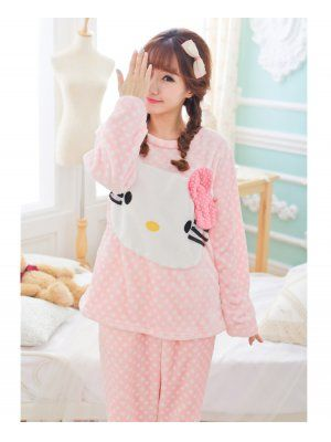 ec02176a4 Cute And Sweet Pajamas Hello Kitty Pattern Long Sleeve Two Pieces Pink Bow Women  Suits