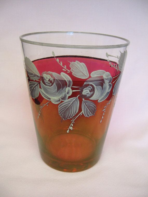 Beautiful Vintage Cranberry Glass Vase with Hand Painted Flowers Perfect for Mother's Day