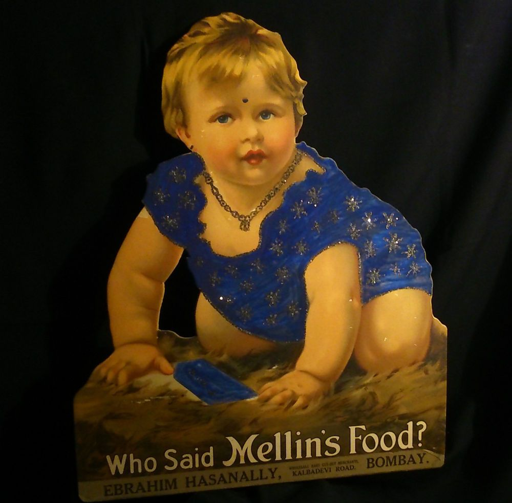 BOMBAY MELLIN S FOOD carton PUB circa 1930 réhaussé paillettes aquarelle sig AMS