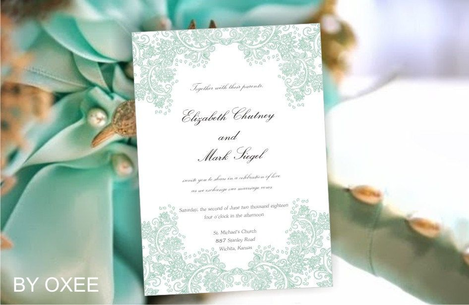Printable Wedding Invitation Template Mint Green Floral By Oxee Minted Wedding Invitations Wedding Invitations Printable Templates Wedding Invitation Templates