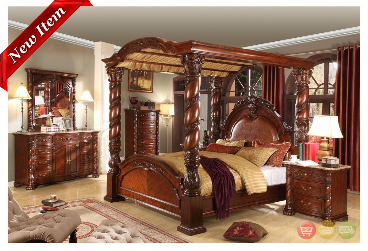 Castillo De Cullera Cherry Finish Canopy Bedroom Collection  # Muebles Cullera