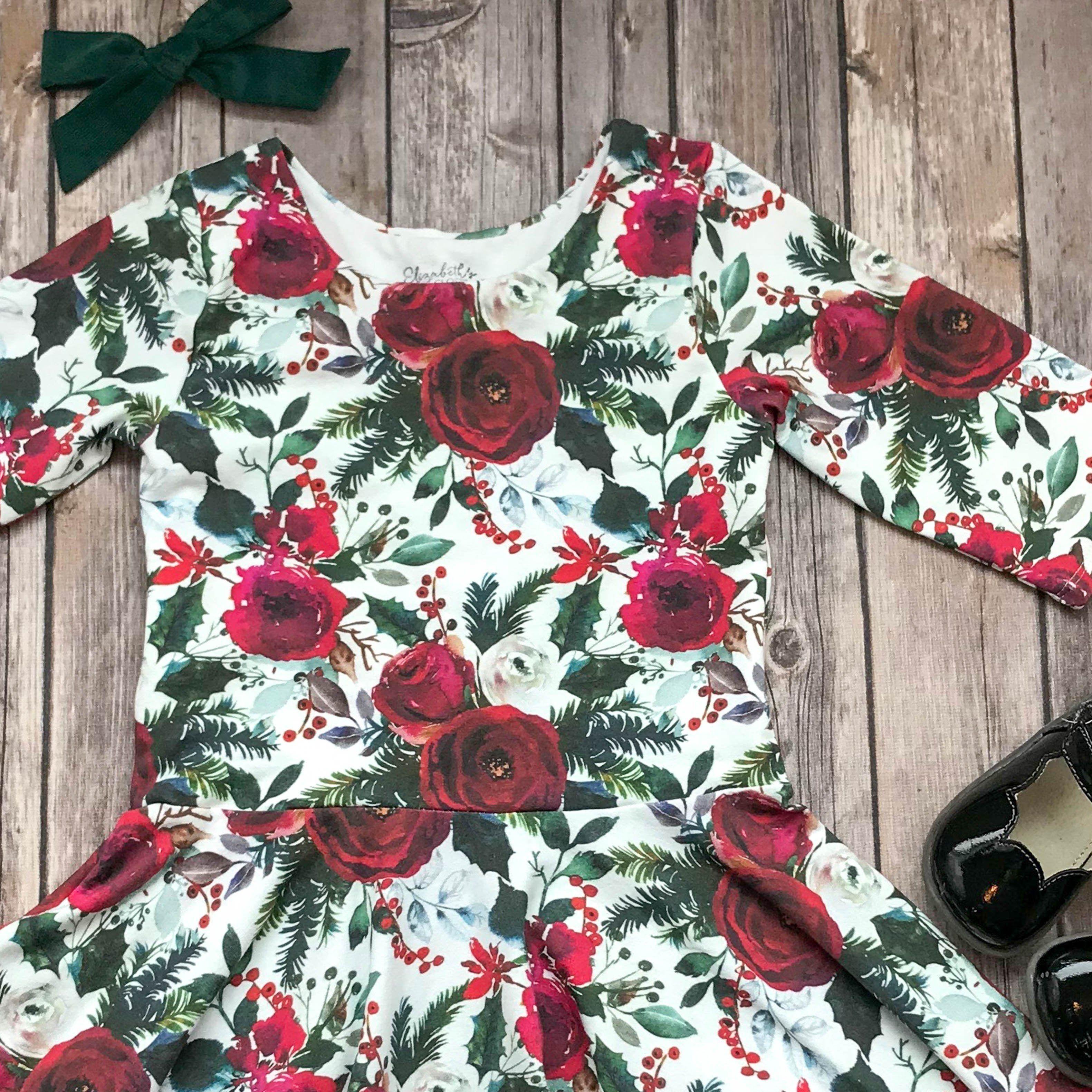 Ready To Ship Christmas Floral Twirl Dress 4t Long Sleeves Twirl Dress Dresses 3t Dress [ 3162 x 3162 Pixel ]
