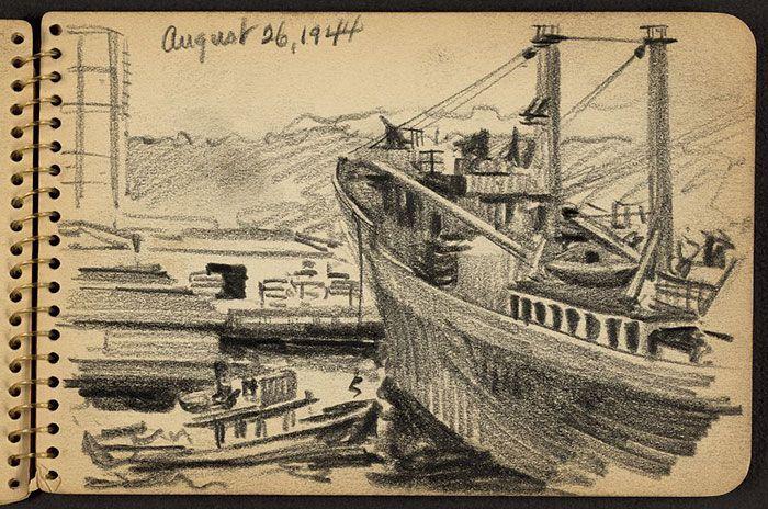 Victor Lundy, disegni della seconda guerra mondiale (1944) Una corda che viene calata su un rimorchiatore nel porto di New York