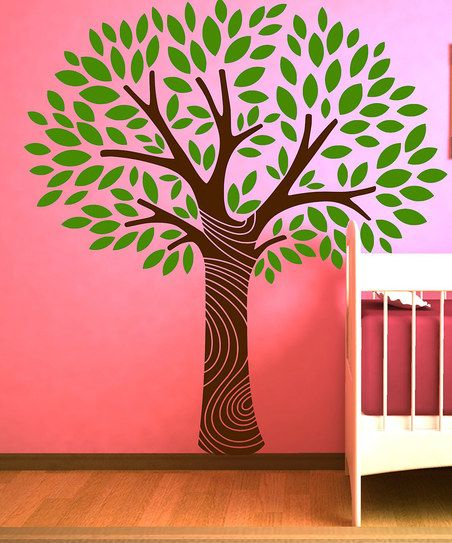 Light Green & Brown Tree Wall Decal