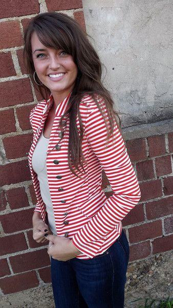 Red Striped Blazer