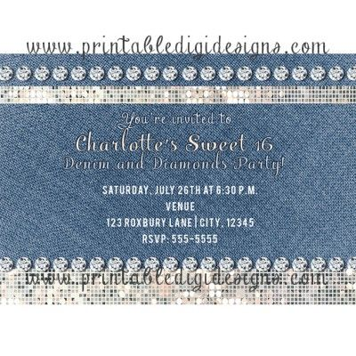 Denim Diamonds and Sequins Glamour Party Event Invitation