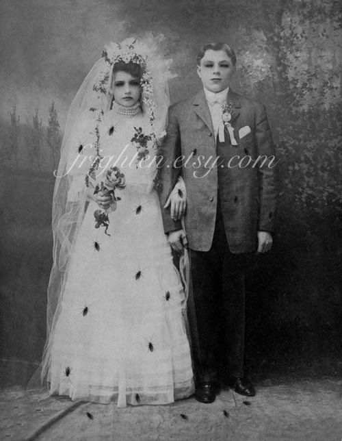 Halloween Wall Art Black And White Zombie Bride And Groom