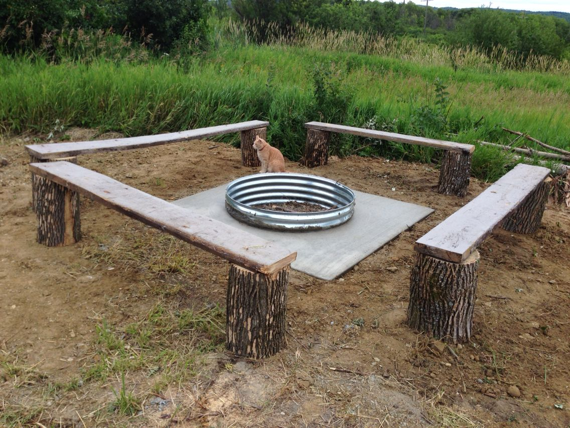 Fire pit at Jordan Valley Barn. Firewood included! (Cat isn't)