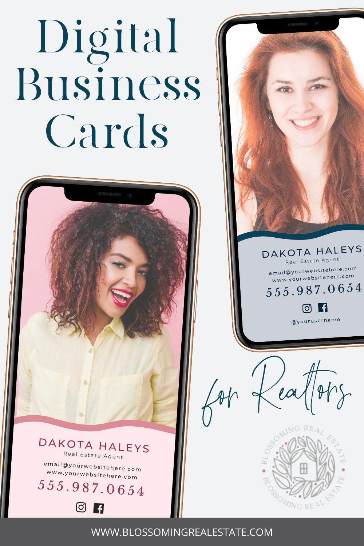 Bold Realtor Business Card Canva Digital Business Card For Etsy Realtor Business Cards Digital Business Card Real Estate Business Cards