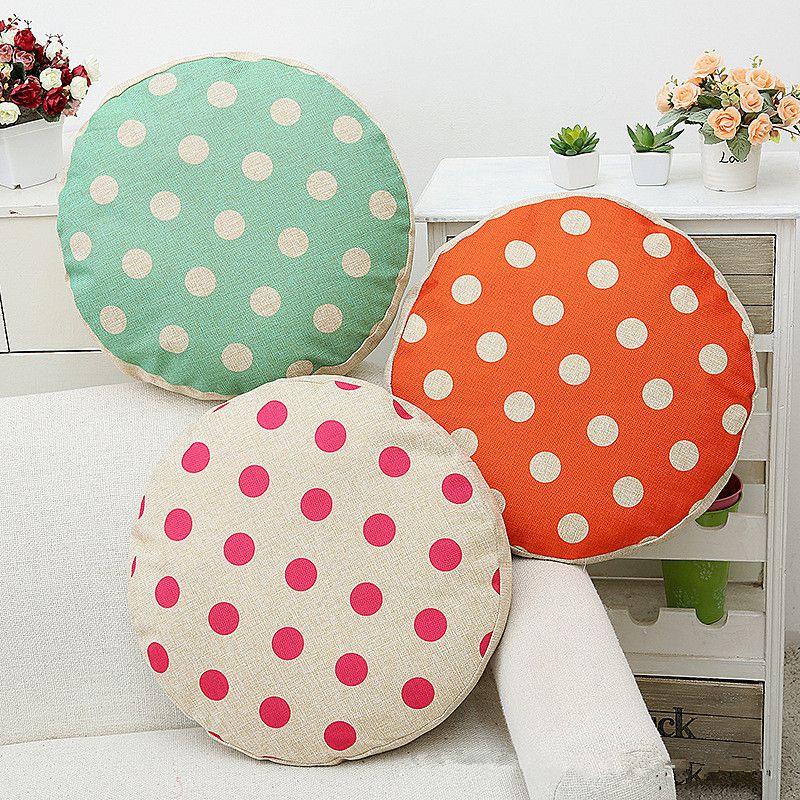 45cm round cotton linen sofa cushion