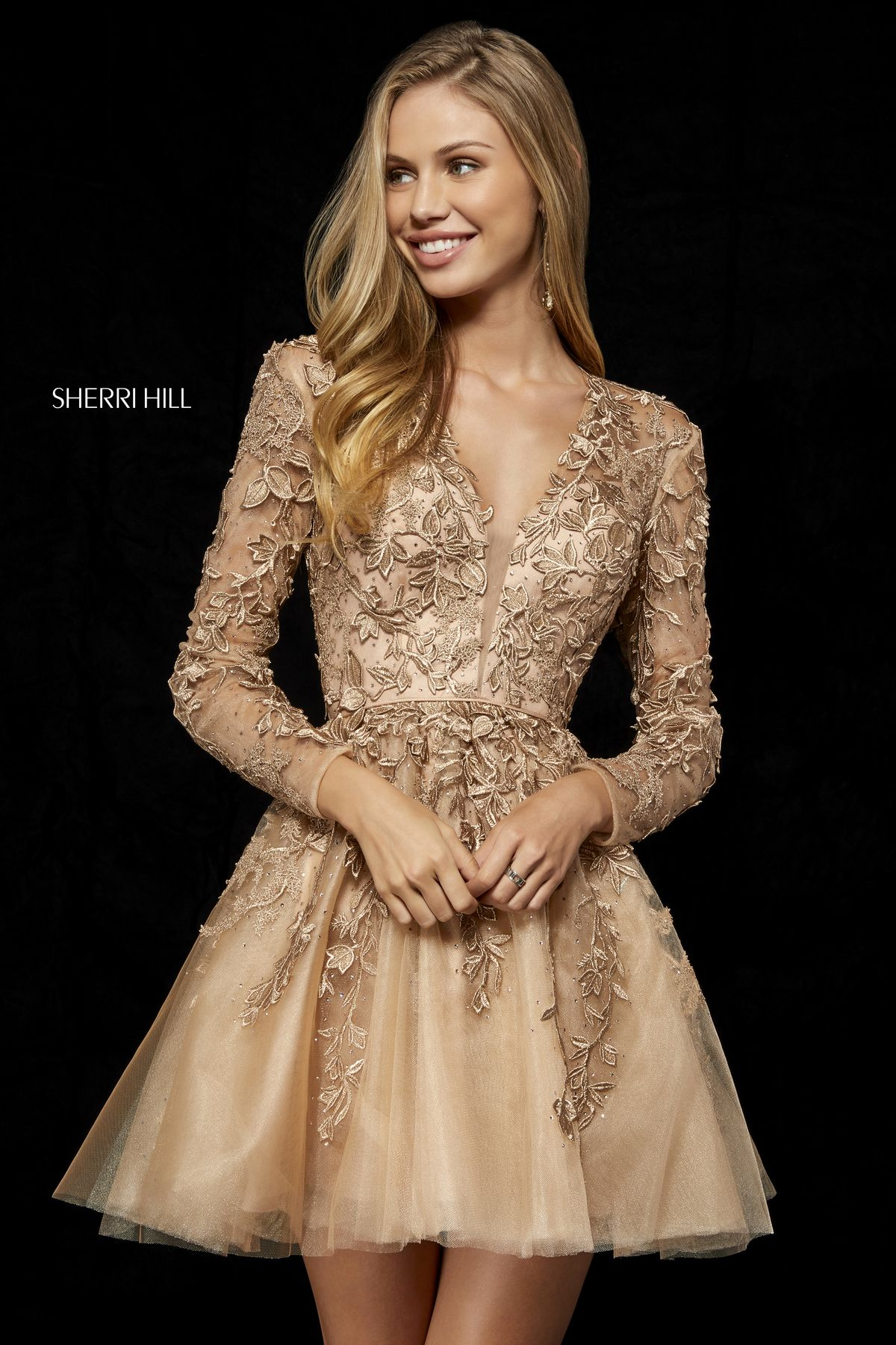 e4afa3e5923 Lace appliqued long sleeve cocktail with deep V bodice and open back ...