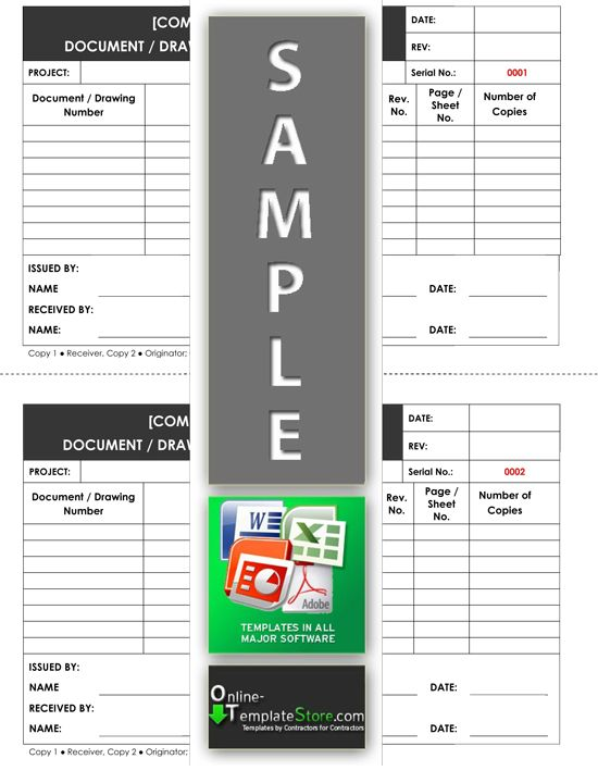 Drawing / Document Transmittal Form Quality Control Templates