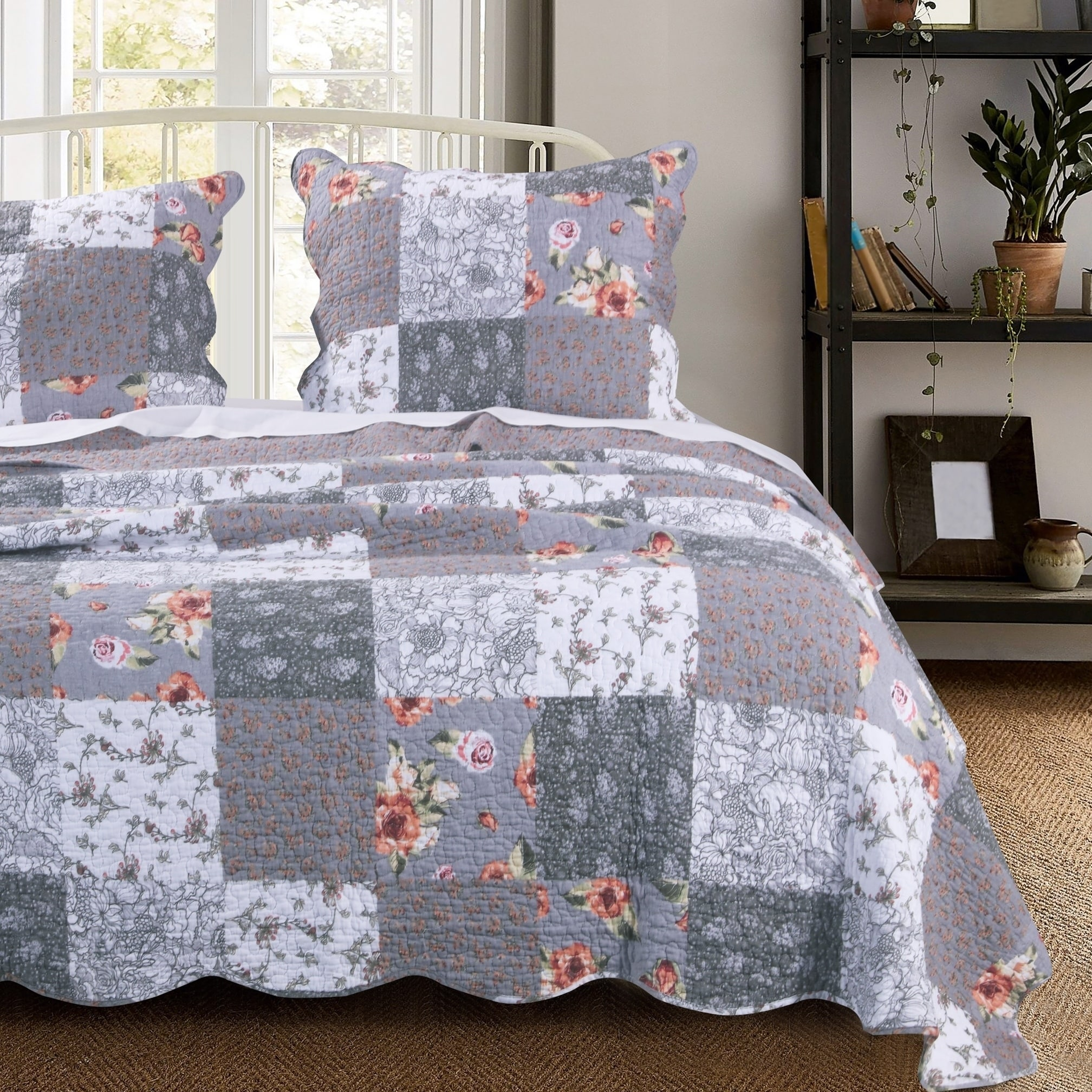 Barefoot Bungalow Giulia Reversible Oversized Cotton Quilt Set Grey 3 Piece Full Queen Califor Cotton Quilt Set Quilted Pillow Shams