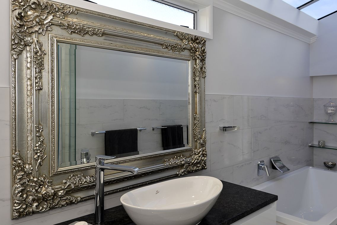 ornate mirror with custom vanity glamorous bathroom on custom bathroom vanity mirrors id=44900