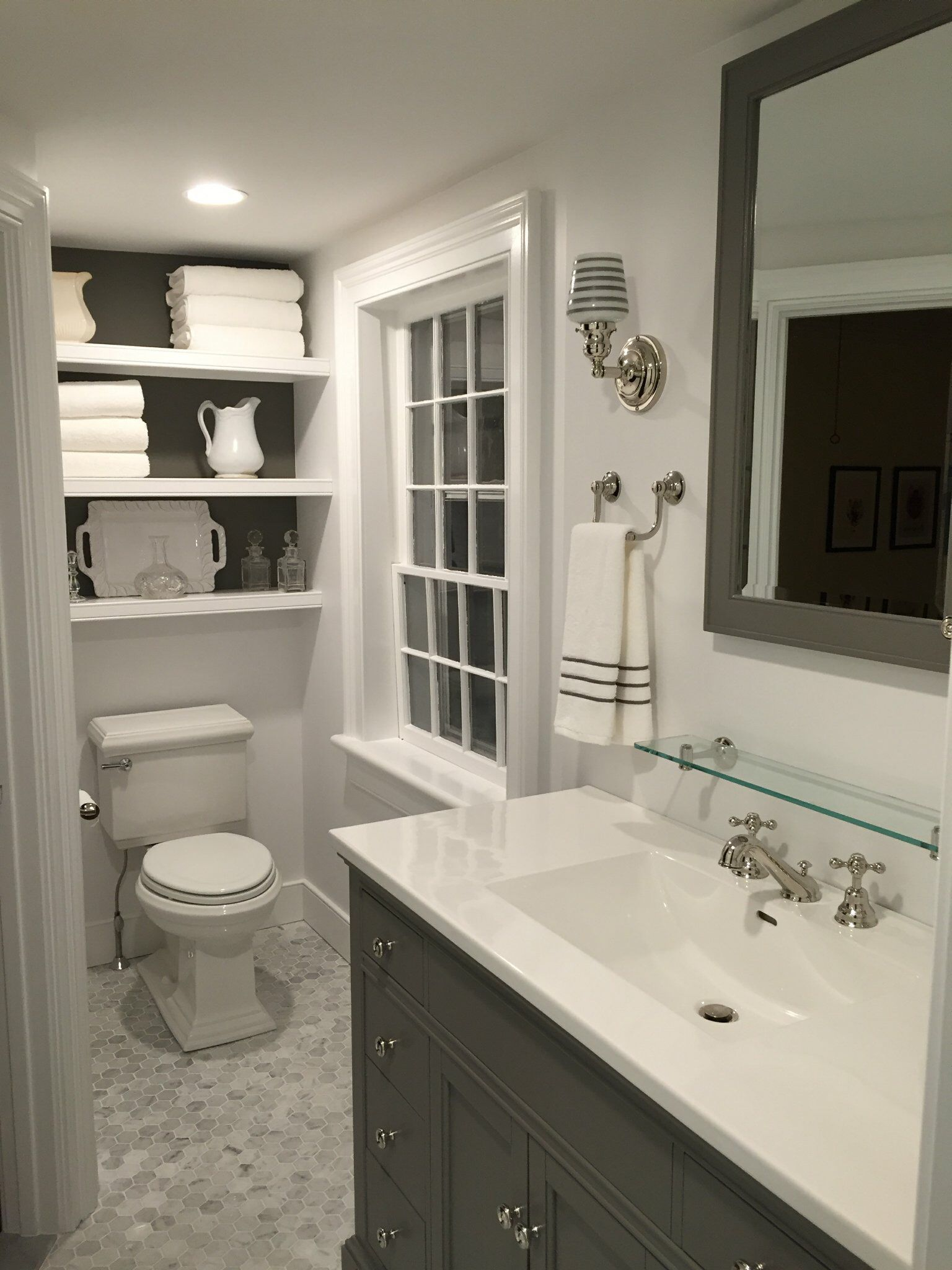 Gray And White Bathroom Marble Carrera Hexagon Tile Floor