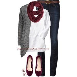 Burgundy & Gray - Love this color combo--I love how a white shirt makes other colors really pop in an outfit and gives it such a clean look.