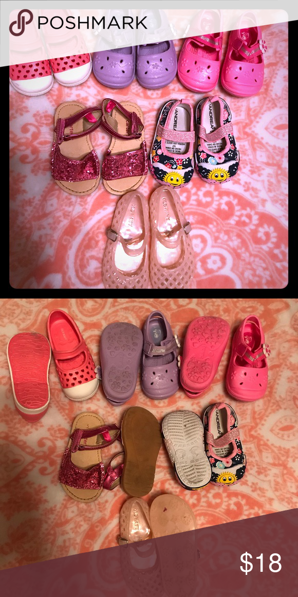 Lot of baby girl shoes. Cute. Size 5, 5