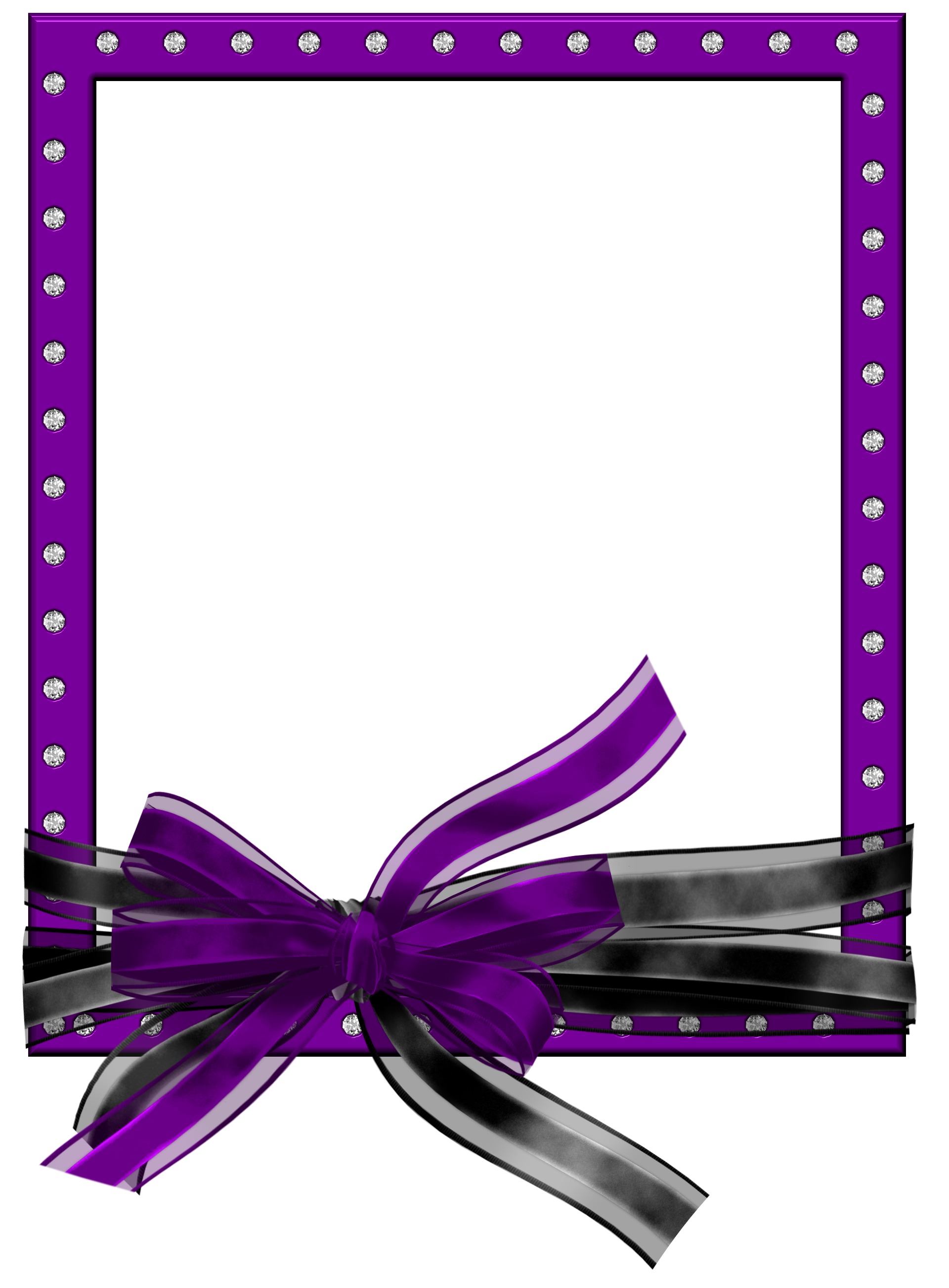 Purple Frame with Ribbon | Purple PNG Photo Frame with Black and ...