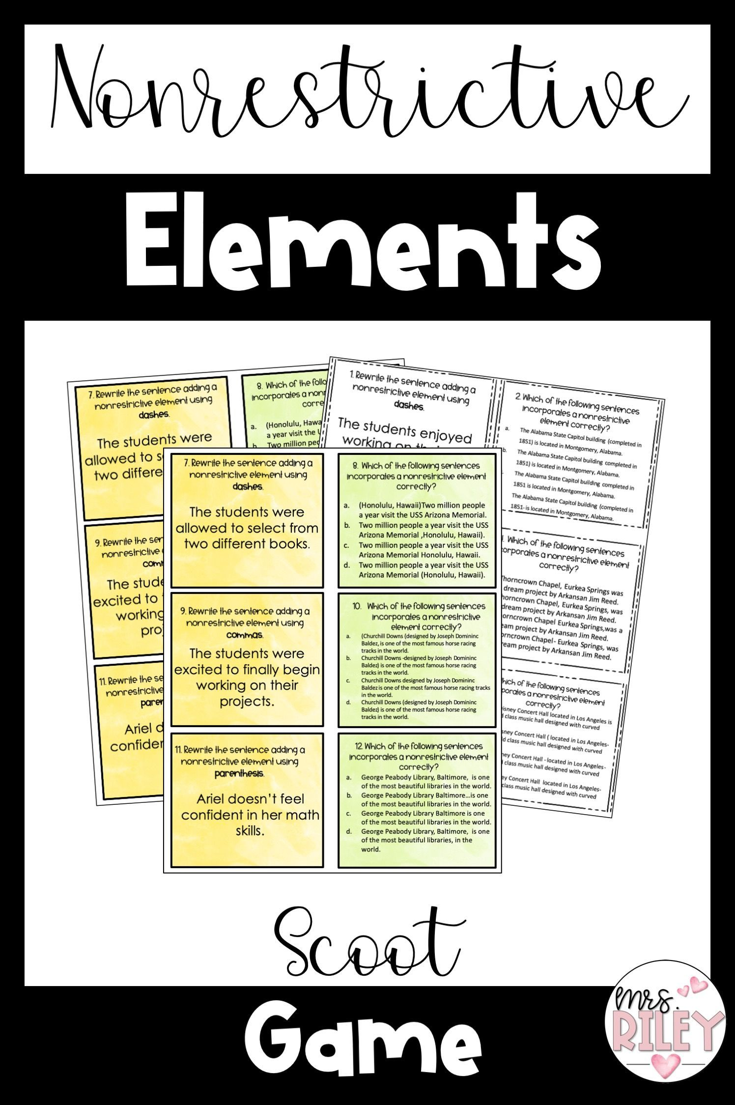 Nonrestrictive Elements | Lesson and Scoot Activity | L 6 2