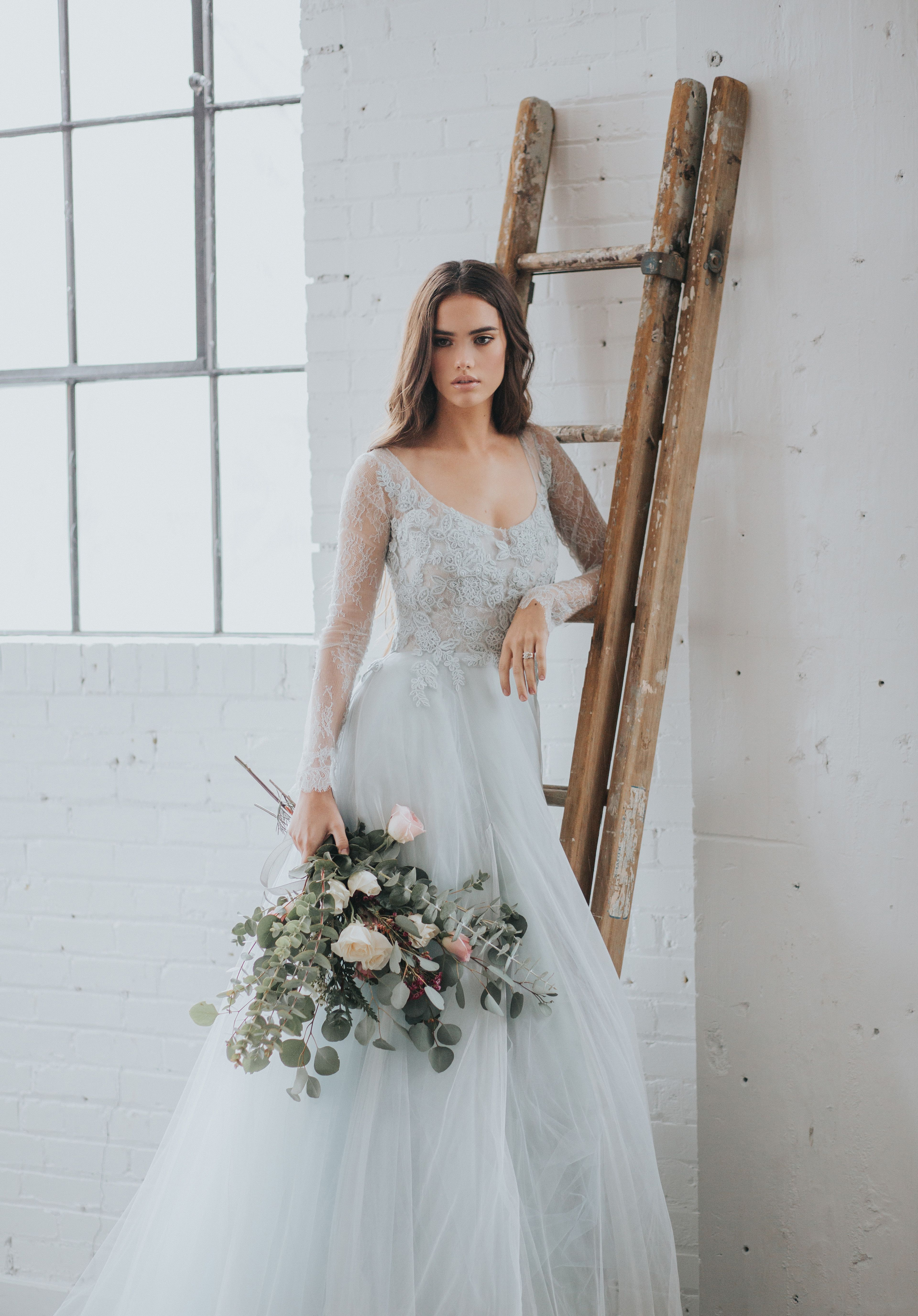 Soft blue wedding dress tulle wedding gown by jean and jewel