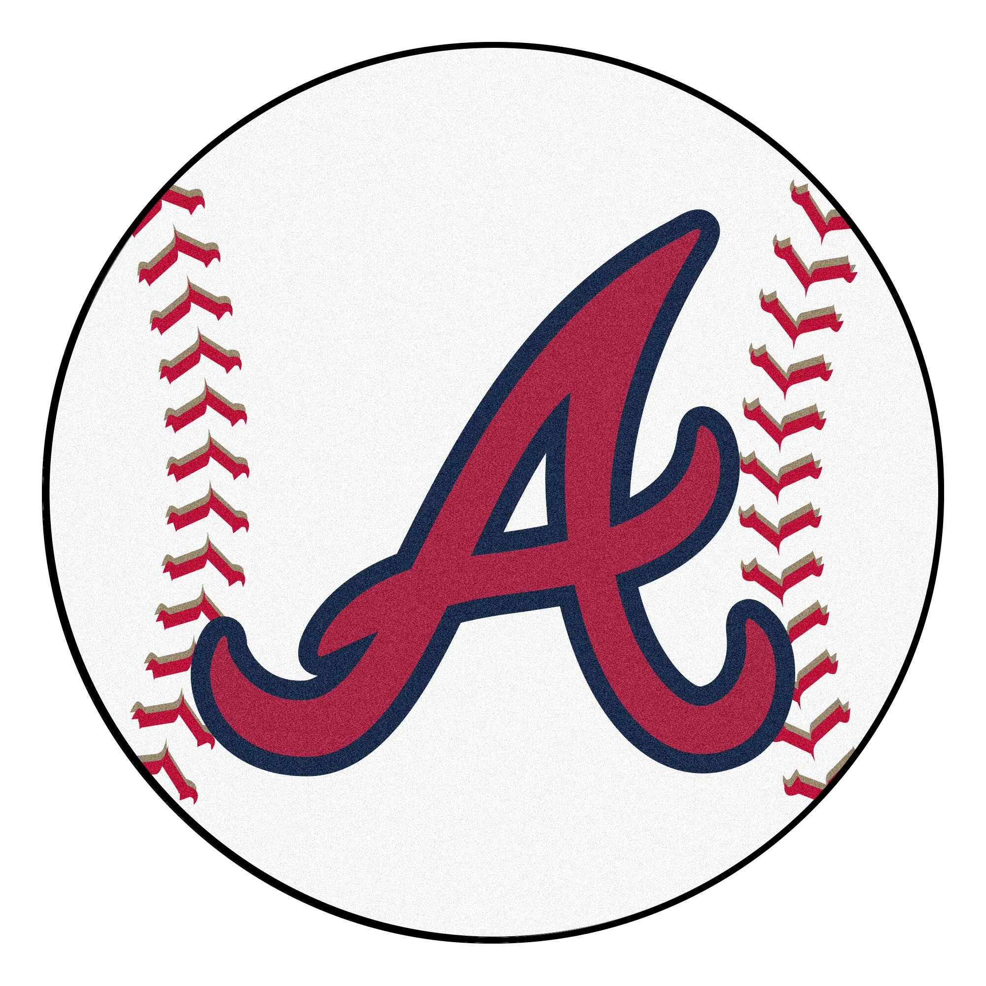 Mlb Atlanta Braves Baseball Shaped Mat Round Area Rug In 2020 Atlanta Braves Baseball Atlanta Braves Logo Braves Baseball
