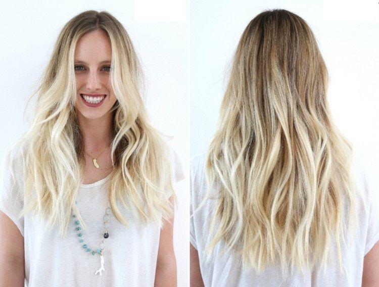 Frisuren Blonde Haare Lange Mahne Seitenscheitel Zwei Stufen