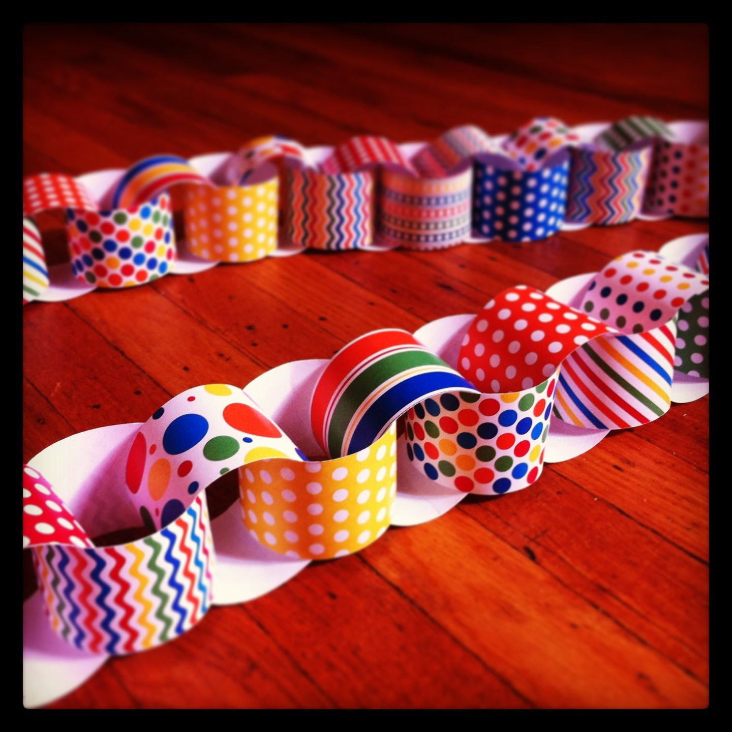 Paper chain for the twins' circus clown themed party