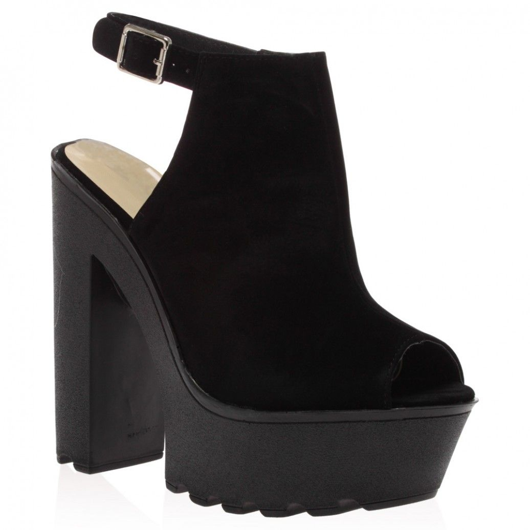 Harper Black SU High Heeled Cleated Sole Platforms