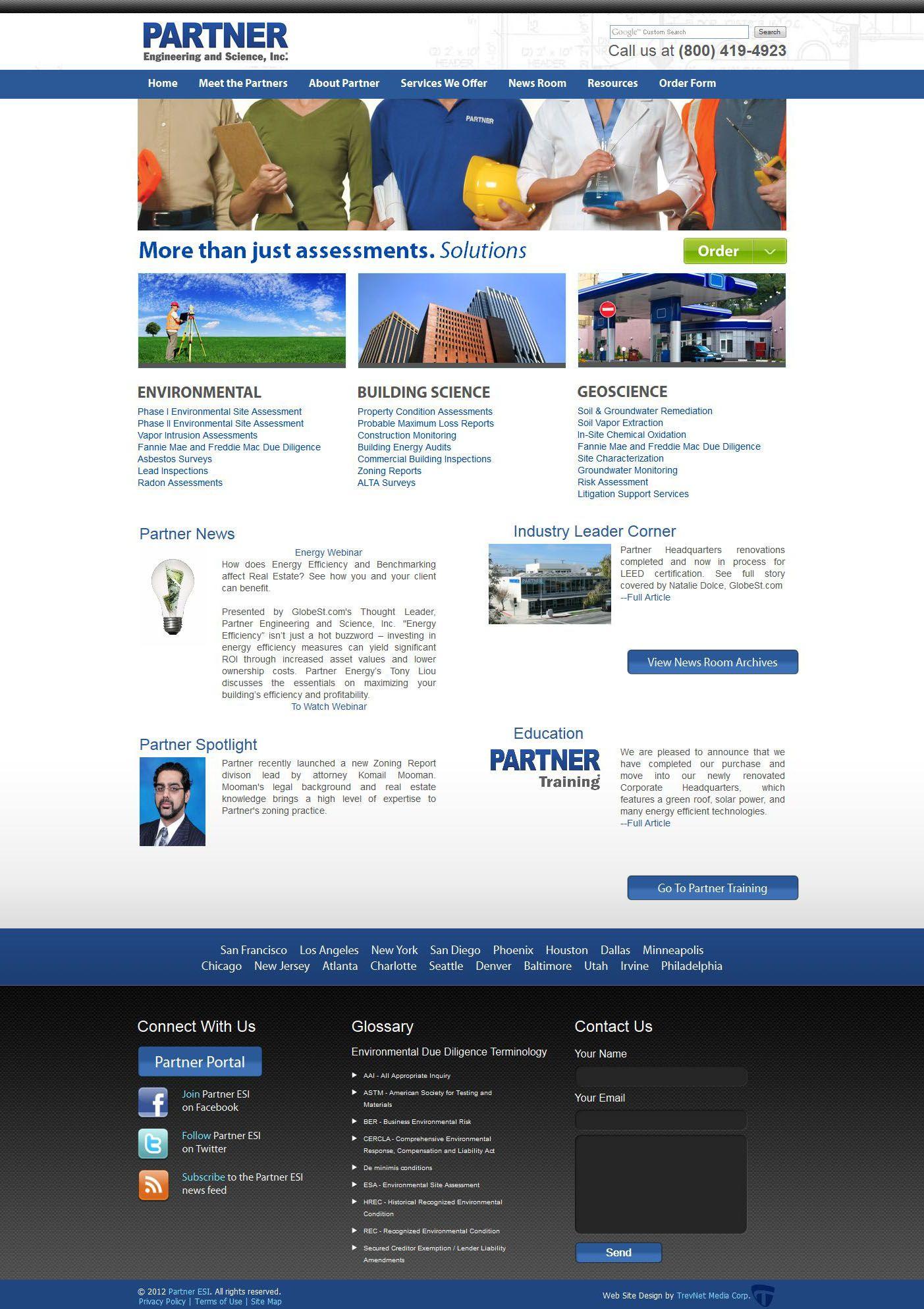 Partner Engineering Science Inc Engineering Science New Industries Custom Website Design