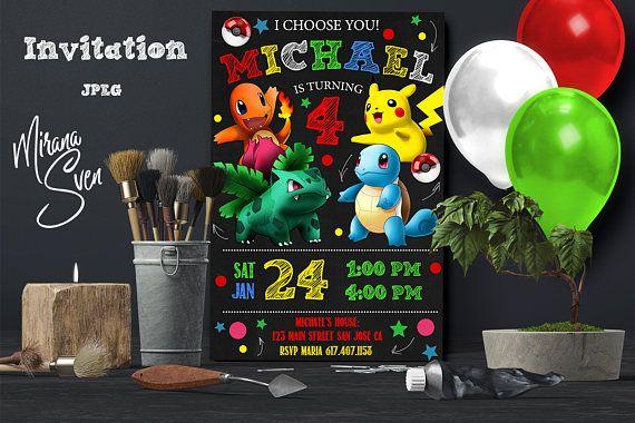 Pokemon Invitation Party Birthday