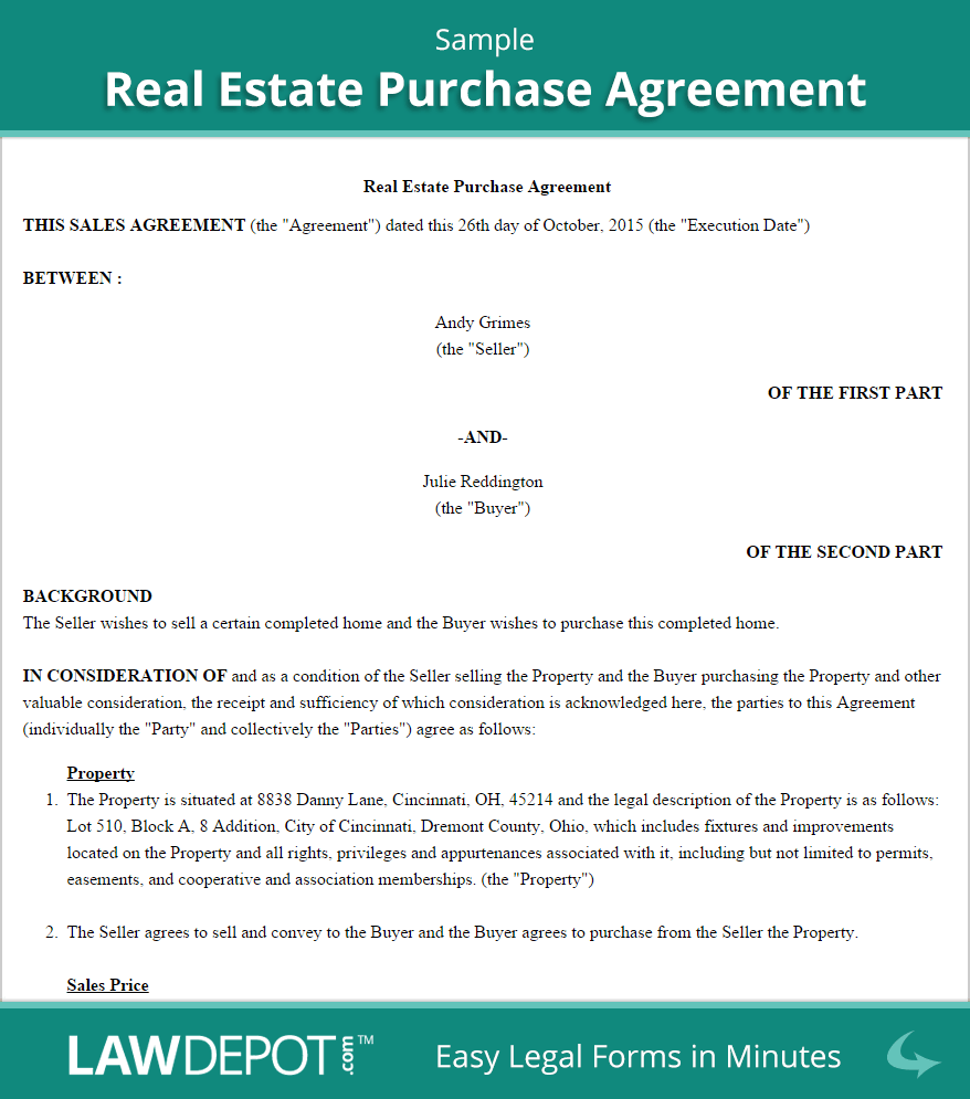 Sample Real Estate Purchase Agreement  Home    Real